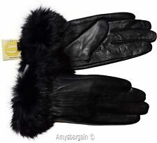 Leather Gloves. Real Fox fur. Size (XL) Women's Gloves. Ladies' winter gloves #6