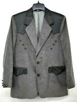 Pioneer Wear Men Gray Leather Corduroy Western Cowboy 2-Button Blazer Jacket 40