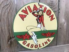 Aviation Flying A Pinup Rare garage gasoline vintage round metal sign