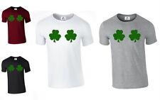 Shamrock t shirt Leprechaun St Patricks Day boobs Irish chest joke (LEAF,TSHIRT)