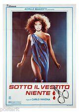 manifesto 2F originale SOTTO IL VESTITO NIENTE Renée Simonsen Carlo Vanzina 1985