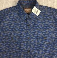 Vintage ITALIA Men's L/S Shirt XL X-Large Blue Gray Camouflage NWT $98 New NICE!