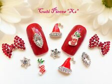 Christmas 3D Nail Art Rhinestone Almond Jewel Snowflake Big Bow Hat Mix Alloy X6