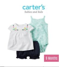 Carter's 3 piece Set for 9M Baby Girl - White Flower Design