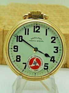 IOWA DOT Hamilton 10K RGP Traffic Special Antique Pocket watch 16S 669 Swiss 17J
