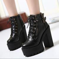 Womens Fashion Punk Zipper Buckle Strap Goth Chunky High Heels Platform Boots