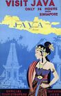 "Vintage Illustrated Travel Poster CANVAS PRINT Visit Java Indonesia 8""X 10"""