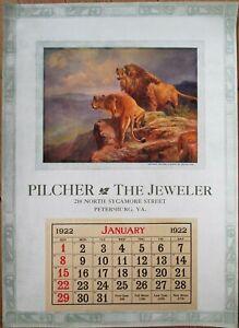 Petersburg, VA 1922 Advertising Calendar/12x17 Poster: Jewelry/Jeweler w/Lion