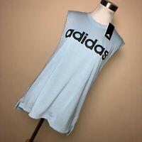 New Adidas L Tank Top Womens White Blue Logo Crew Neck Activewear $30.00      R3