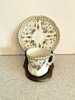 Vintage Limoges Porcelain Tea Cup & Saucer Set Demitasse White & Pink Flowers