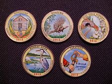 2015 Complete Set Of Colorized Set Of National Park Quarters - P Mint (5 Coins)