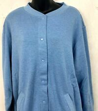 Blair Womens Snap Button Up Sweatshirt Cardigan Denim Blue Pockets Size Large