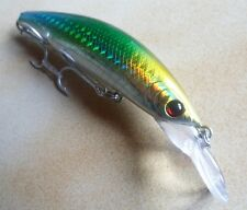 Leurre pêche mer riviere 9,5cm (sans bavette) 14g 0-2,5m vert tête jaune