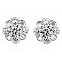 18k White Gold GP Crystal Flower Lady Bridal Wedding Earrings Stud Drop Earrings