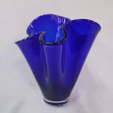 Vase Fluted Ruffled Cobalt Blue Ground And Polished Crystal Glass Unique