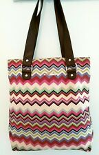 Kookai Tote Bag Canvas Shopper Chevron Multi Stripe Large Shoulder Laptop Beach