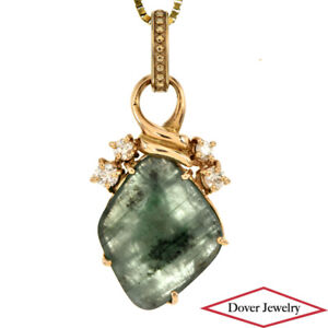 Estate Diamond 4.19ct Emerald 18K Gold Dangle Pendant NR