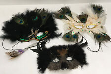 vintage feather three  mask lot peacock white black masquerade halloween party