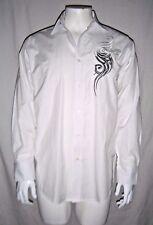 EDDIE DOMANI Mens White Striped Long Sleeve Shirt T-Shirt w/Silver Detail sz. M