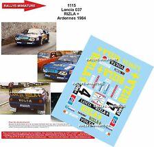 DÉCALS 1/43 réf 1115 Lancia 037  RIZLA + Heverett / jJamar Ardennes 1984