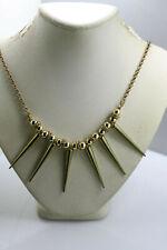 "Vintage gold tone rhondelle style rhinestone spike dangles bead necklace 24"""