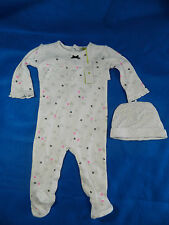 Petit Lem Baby Girl White One Piece 3 Months Flowers Footsie New