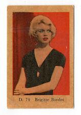1960s Swedish Film Star Card Star D Set # 74 French Sex Symbol Brigitte Bardot