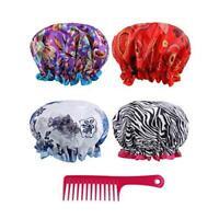 Reusable Shower Cap Women Hair - (Pack of 4) Lined Plastic Showercap Waterproof