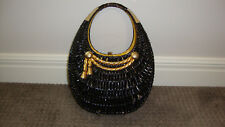 Vintage KORET Black Wicker Basket Clutch Gold Rope Handbag Purse