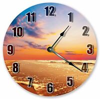"""10.5"""" SEASHORE WITH RED SUNSET CLOCK Large 10.5"""" Wall Clock Home Décor - 3042"""