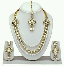 Indian Bollywood Fashion Gold Plated Diamond & kundan Necklace Jewellery Set