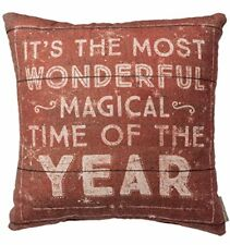 """MOST WONDERFUL MAGICAL TIME Christmas Pillow, 16"""" x 16"""", Primitives by Kathy"""