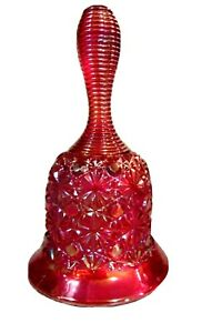 """Fenton Red Carnival Glass """"Daisy and Button"""" Pattern Bell"""