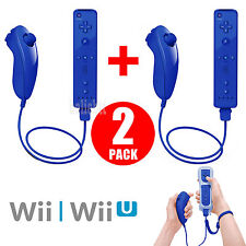 Blue Motion Plus Remote Wiimote Nunchuck Controller Set Combo for Wii Wii U Game