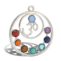 Hot 7 Resin Beads Reiki Chakra Healing Point Stone Pendant For DIY Necklace Gift