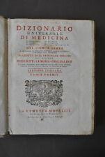 Dizionario Universale  Medicina Chimica Botanica Anatomia Farmacia James 1753