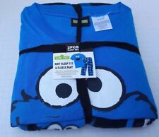 Mens Sesame Street Cookie Monster 2pc Pajama Lounge Set Knit Tee Fleece Pants M