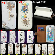 NEW Magnetic Bling Diamonds PU leather wallet flip stand Phone cover Case skin N