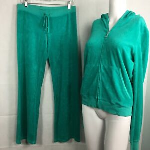 Juicy Couture Womens Vintage Y2K Green Terry Wide Flare Leg Tracksuit Sz M XL