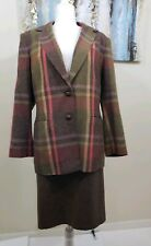 LE SUIT Women 2PC Vintage Brown Green Pink Yellow Skirt Suit Size 16