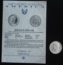 JOHN F KENNEDY 1964 SILVER HALF DOLLAR A WITH COA HISTORIC UNITED STATES COIN