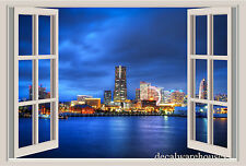 Japan Night Lights Window View Repositionable Color Wall Sticker Wall Mural 3 FT