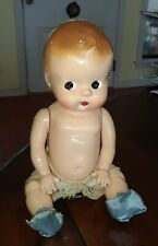 Vintage Hard Plastic Side Glance Baby Doll In Vintage Diaper & Booties
