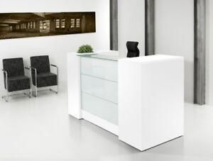 Empfangstheke mit Schubladen - Bürotresen - Weiss + Glas !