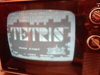 Vintage Sears Solid State TV Model B & W, black and white gaming retro wood CRT