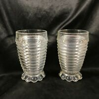 Pair of Vintage Clear Glass Ice Cream Parlor Ribbed Float Glasses