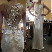 UK White Ivory Pink Red Chiffon Beaded Mermaid Beach Wedding Dress Size 6-16