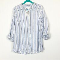 Charter Club Womens Plus Size NWT 1X Striped Linen Button Up Shirt Blue White