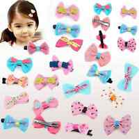 10Pcs Cute Baby Toddler Girl Hair Clips Ribbon Bow Kids Satin Bowknot Headband