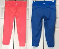 Lot Of 2 RBX Women's Neon Pink & Blue Workout Cropped Capri Pants Size Small